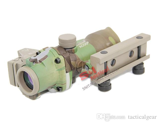 actical Trijicon ACOG 4X32 Real Fiber Source Red Illuminated Rifle Scope with RMR Micro Red Dot Sight Multicam