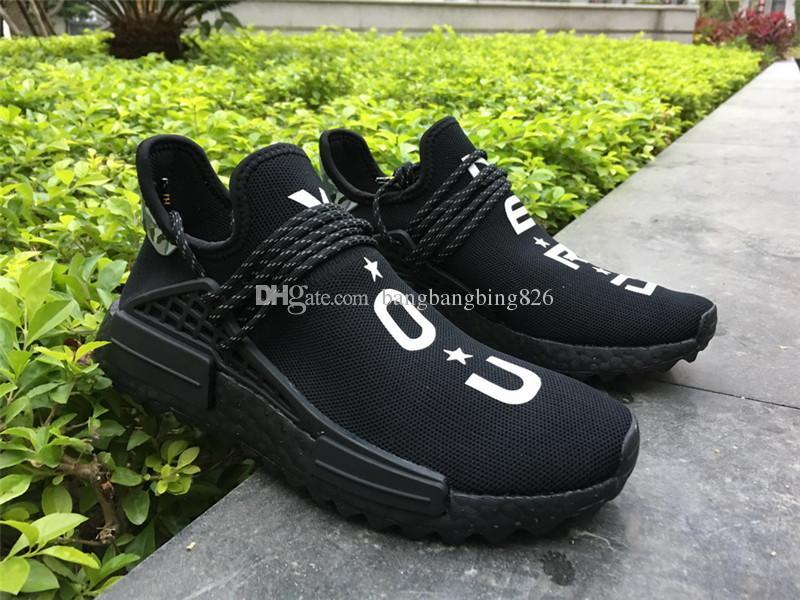 b0704e9db7cc Authentic Trail Human Race HU Pharrell NERD Black White Running Shoes  Sneakers Y O U N E R D Sports Shoes BB7603 Trail Running Shoes Womens  Running Shoes ...