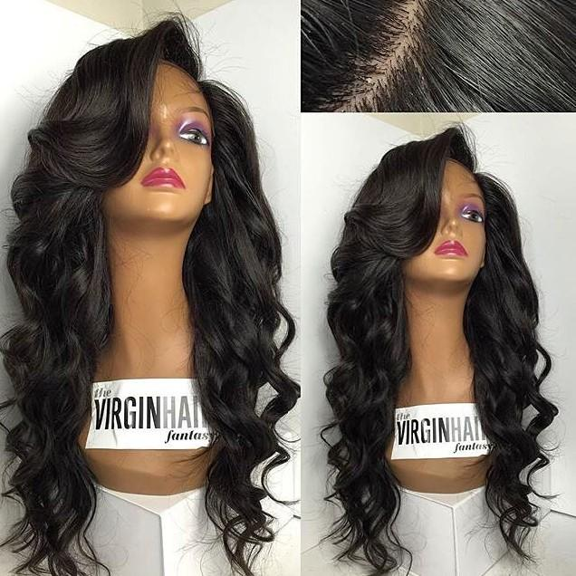 Long Glueless Full Lace Wig For Black Women Tangle Free Malaysian Human Hair Wavy Front Lace Wig Middle Part With Baby Hair