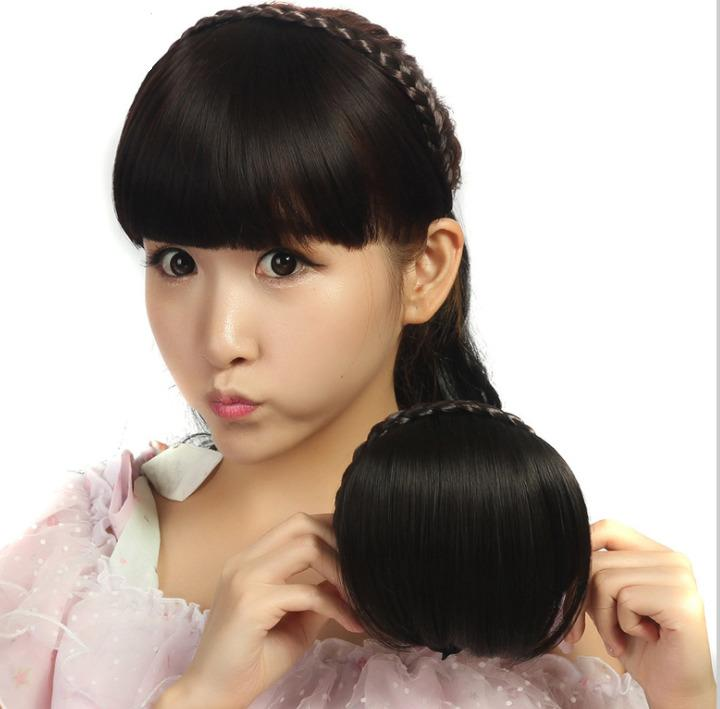 New Twist Fake Female Invisible Braid Headband Qi Wig Natural