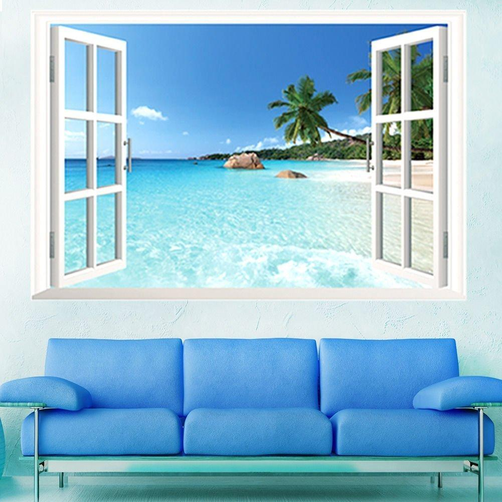 Large PVC Removable Beach Sea 3D Window View Scenery Wall Stickers Home  Decoration Decals Wall Paper Murals