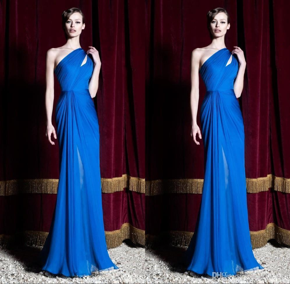 2016 Zuhair Murad New Royal Blue Evening Party Dresses One Shoulder Pleats Evening Prom Gowns Custom Made bo9790