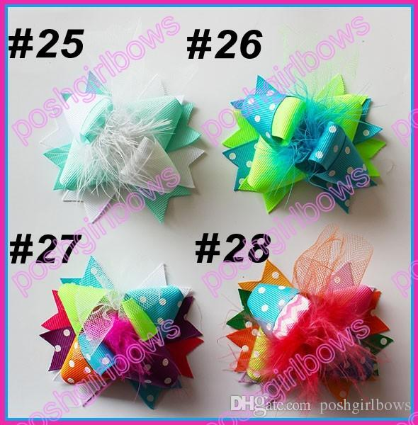 3'' Mini Funky Fun Over the Top Bows fashion girl hair bows feather clips
