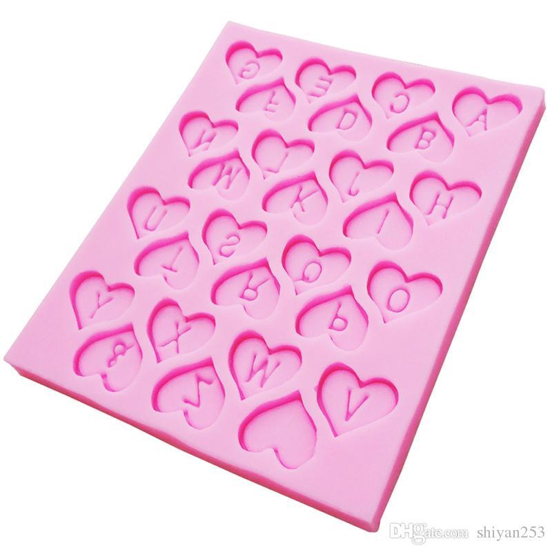 DIY Cake Decorating Loving Heart Letter Lace Shaped Fondant Silicone Cake Molding Sugar Art Tools, 9.6*12*0.6CM