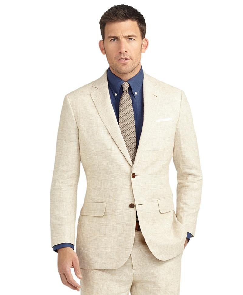 Summer Casual Champagne Linen Men Suits Notched Lapel Tuxedos ...