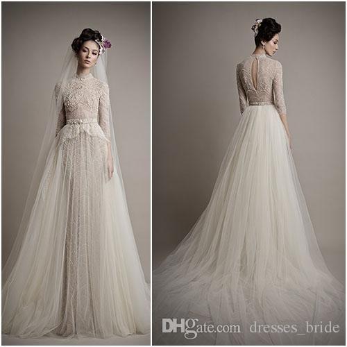 2015 Ersa Atelier neue Brautkleider mit abnehmbaren Zug Tüll Rock Brautkleider 3/4 Ärmel High Neck Lace Perlen Detail Brautkleid