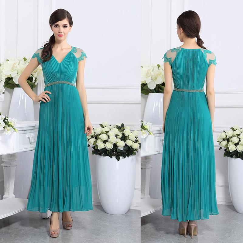 Teal Wedding Gown: Long Modest Teal Bridesmaid Dresses Cap Sleeves V Neck