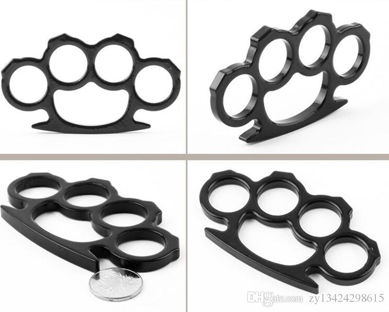 Colgantes de nudillos de latón de acero fino negro Autodefensa Autodefensa personal para hombres y mujeres Defensa personal