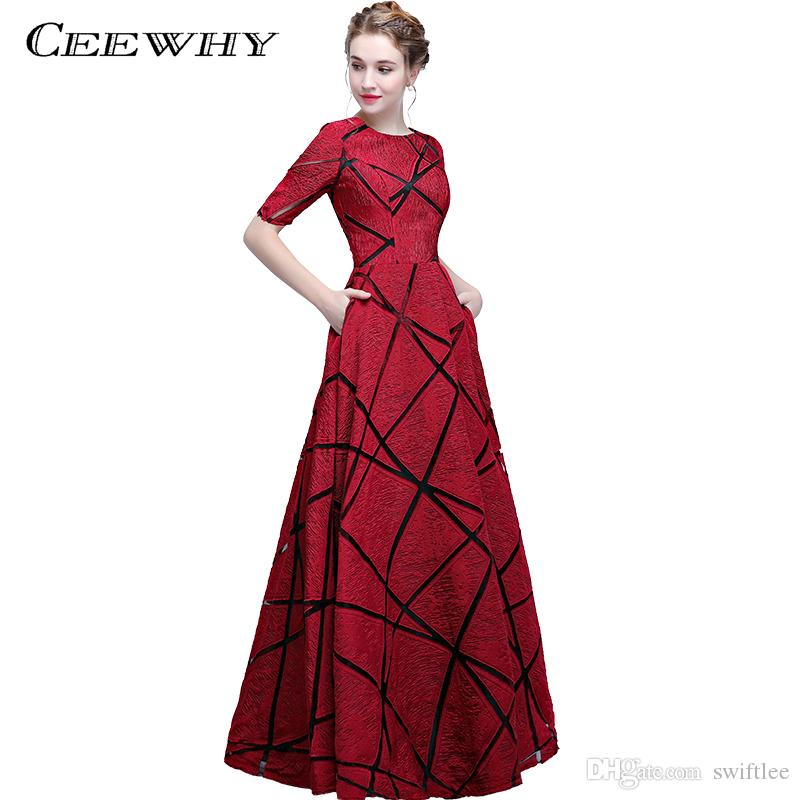 Ceewhy Short Sleeve Vintage Evening Gown Party Elegant Prom Dresses ...