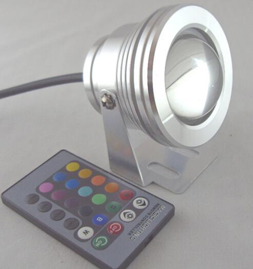 12 V 10 W RGB LED Lumière Sous-Marine pour Extérieure Étanche IP68 Aquarium Fontaine Étang de Piscine Lumière avec IR Télécommande D'or Argent Noir