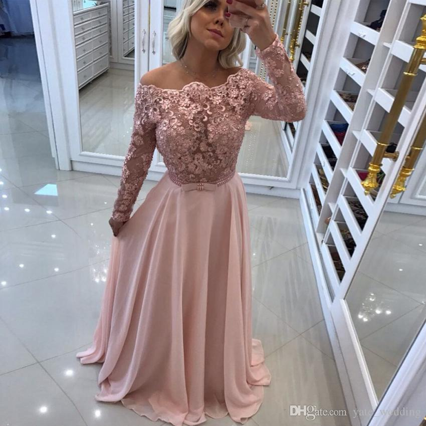Blush Pink Lace Chiffon Prom Dresses Off Shoulder Long Sleeves