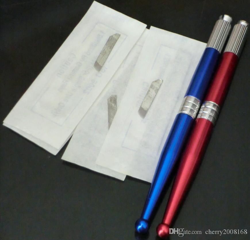 Kalıcı Makyaj kaynağı için 50 Adet Bıçak 14 boyutu ve 3 Adet Manuel Kozmetik Dövme Kaş Kalem Makinesi ile
