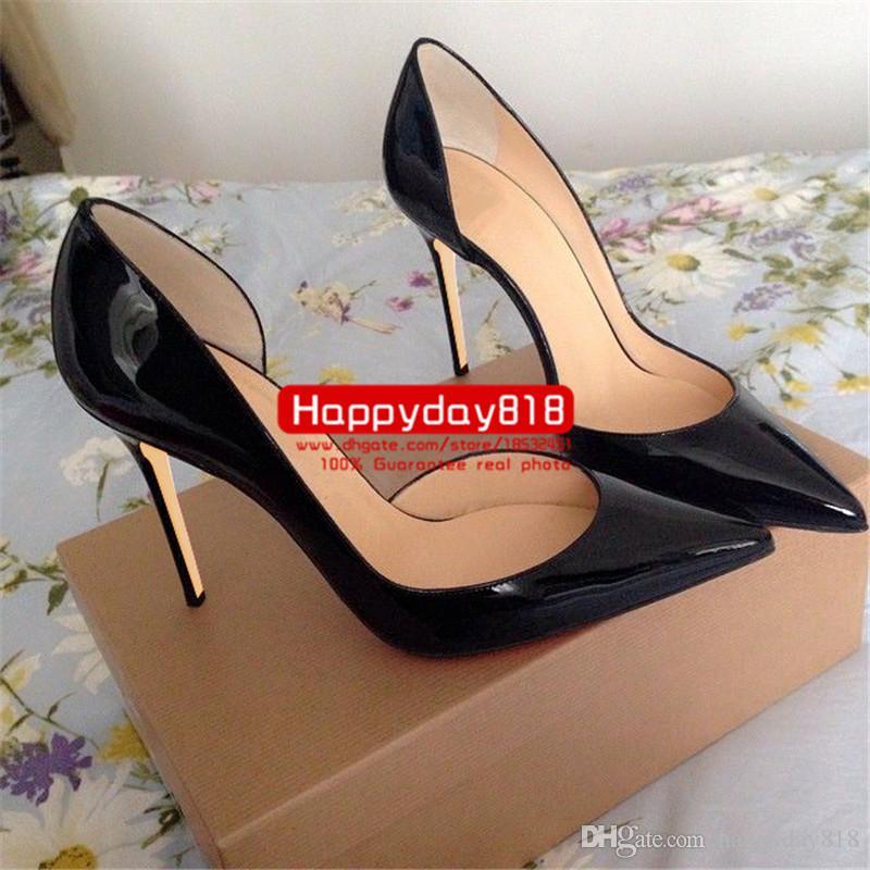 Frete grátis moda feminina bombas de couro preto nu ponto dedo do pé sapatos de salto alto botas de couro genuíno 120mm sexy lady cone saltos