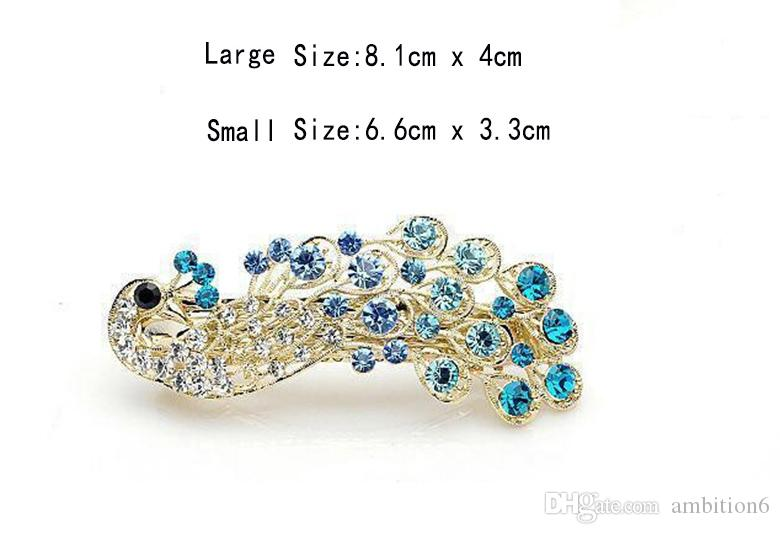 New Fashion Retro Peacock Full Crystal Rhinestones Hair Accessories Hairpin Side Clip Headwear Jewelry