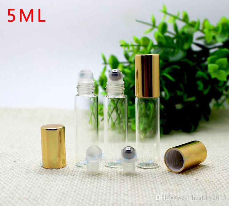 Wholesale Price /Carton 5ml Clear Glass Roll On Bottles Essential oil Bottles With Metal SS Ball And Gold Cap In Stock Now !