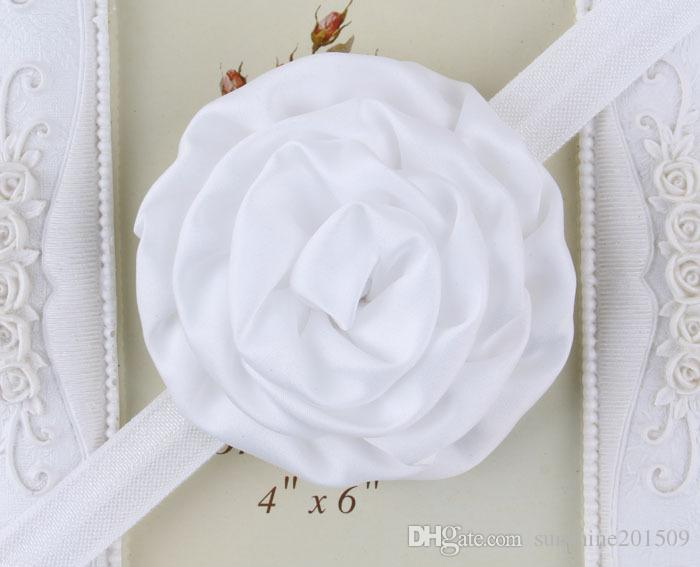 New design Children's Hair Accessories with satin roses flower hair band cute baby elastic headbands photography infant headdress