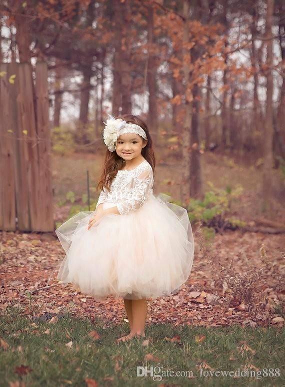2018 Cute Boho Cheap Ivory Knee Length Lace Puffy Flower Girls Dresses Sheer Long Sleeve Tulle Tutu Ball Gown Child Pageant
