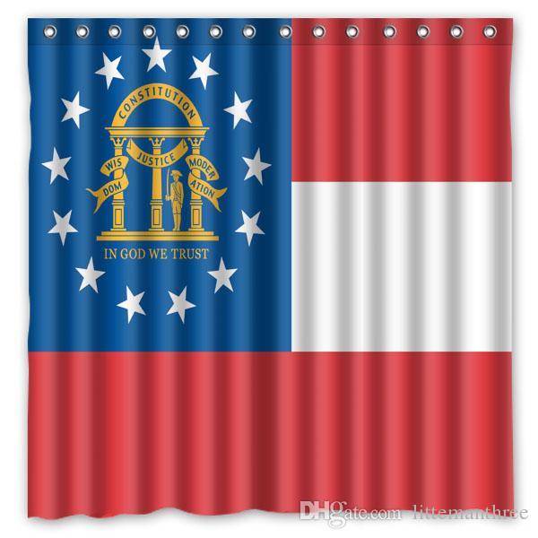2018 Georgia States Flag Seal Design Shower Curtain Size 180 X 180 ...