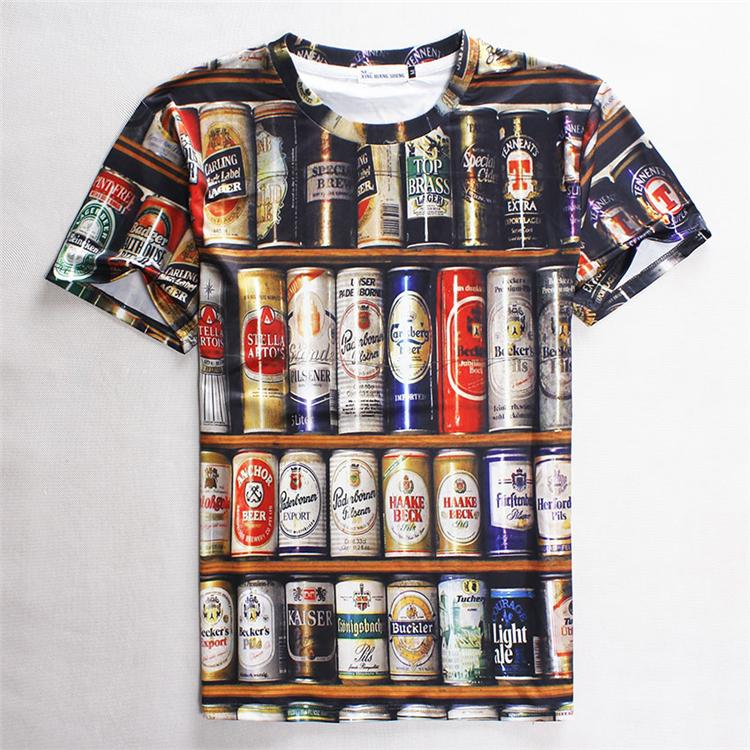 3d Beer Design Slim Short Sleeve T Shirt Printing T Shirts ...