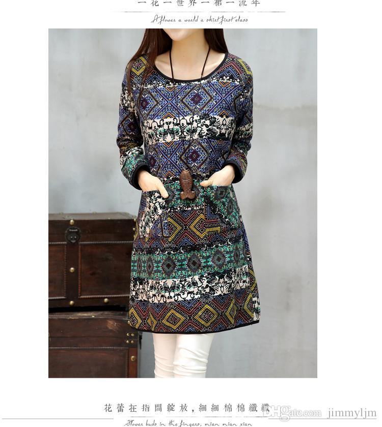 outfit neue große yards kleid gedruckt baumwolle verdickung lange langarm kleid in weibliche gestrickte dress Belle retro leinenkleid