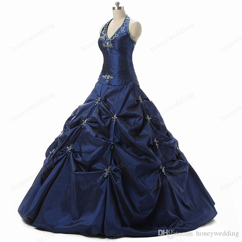 In Stock Blue Quinceanera Gowns Cheap 2016 With Halter Neck Embroidery Beaded Ruffles Sweet 16 Girls Masquerade Prom Dress Ball Gown