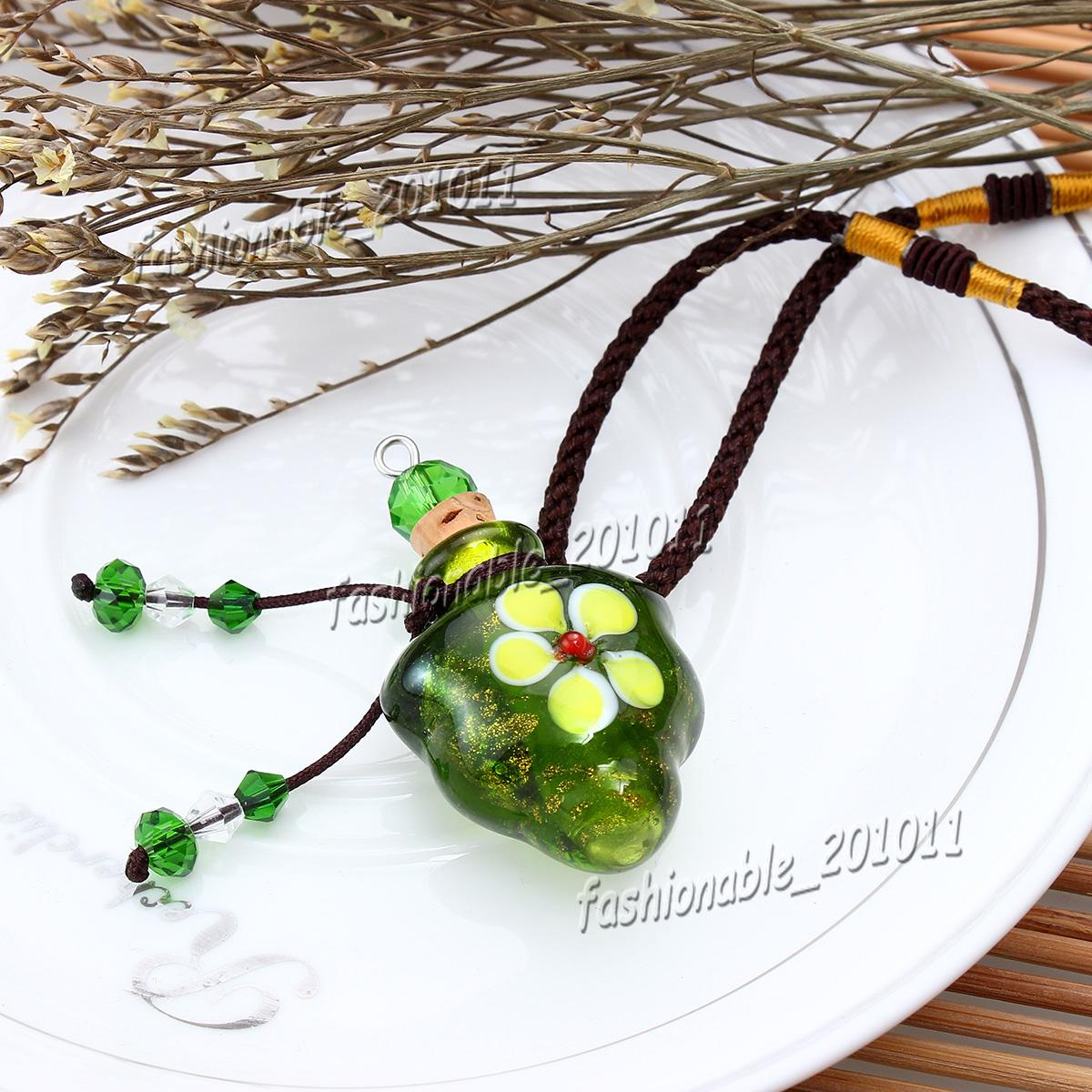 Glass essential oil diffuser necklaces flowers small vial pendant necklace aromatherapy pendant vintage perfume bottle pendant necklaces