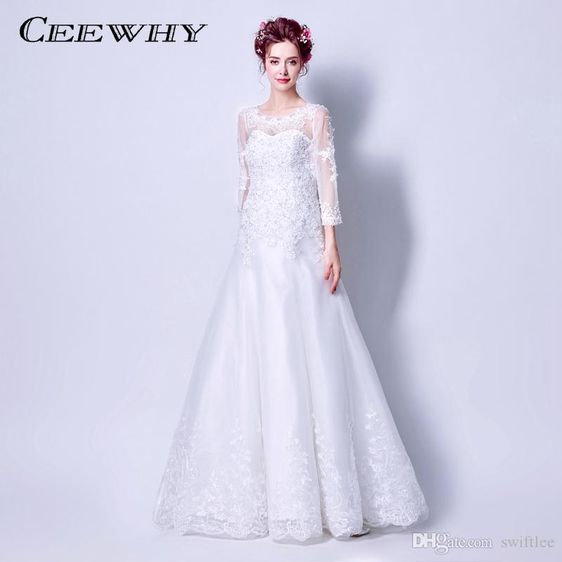 da81acc1076b3 CEEWHY Robe de Mariee Luxury Three Quarter Sleeve Lace Wedding Dress 2018  Vestido Vintage Bandage Plus Size Vestido de Noiva