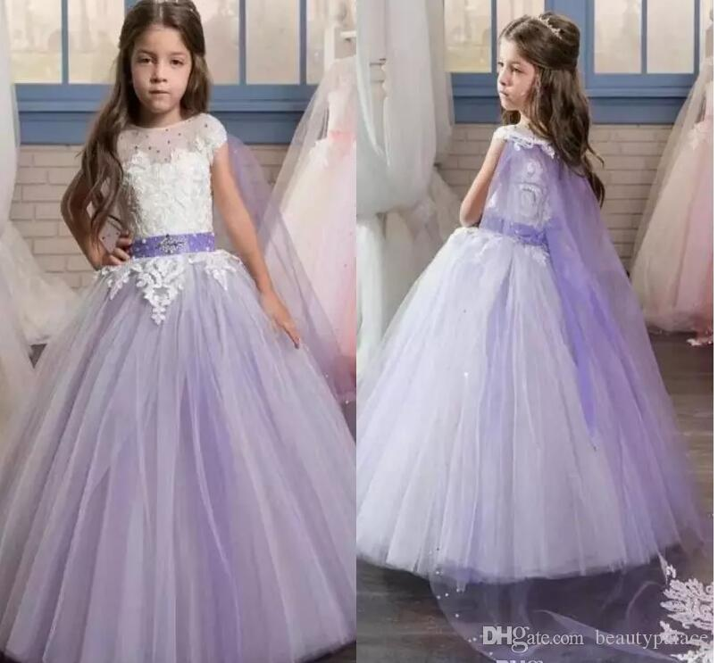 Pretty White Lace Applique Long Lilac Pageant Dresses for Little Girls Glitz with Cape Puffy Kids First Communion Flower Girl Dresses