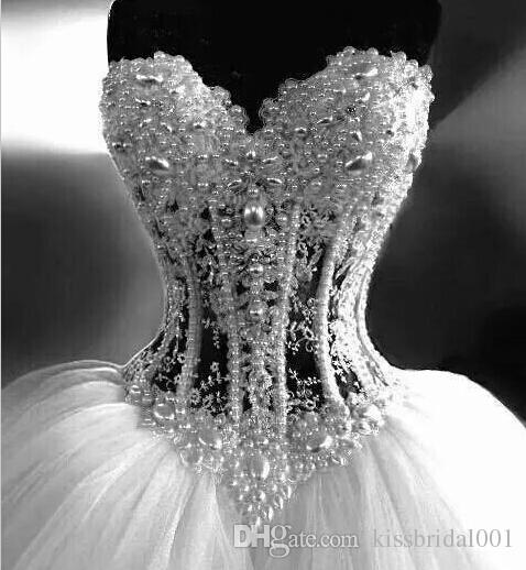 Luxury Wedding Dresses With Lace Pearl Beads Unique Arabic Bridal Gowns Sweetheart Neck Zip Back White Tulle Princess Wedding Gowns