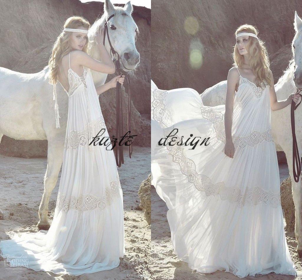Free People Wedding Dress.Inbal Raviv 2018 Bohemnian Wedding Dresses Flowing Flare Lace Chiffon Spaghetti Backless Free People Country Boho Holiday Bridal Gowns