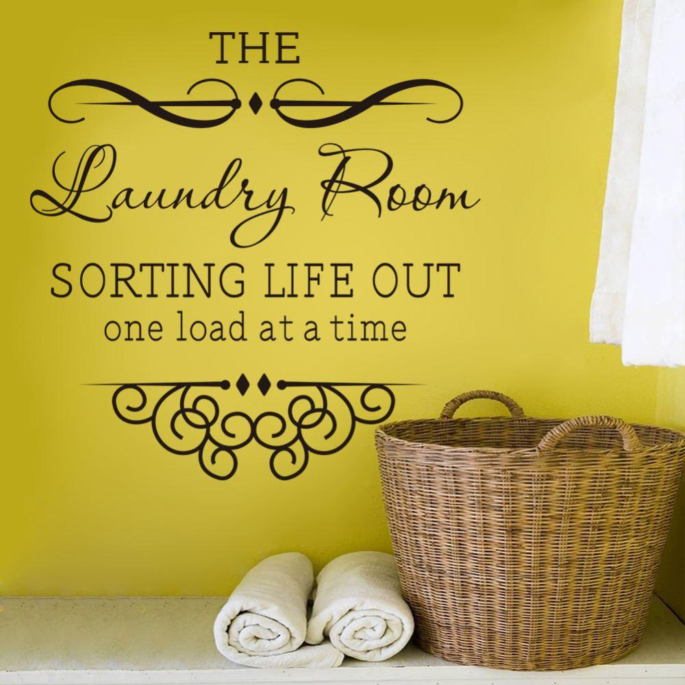 Wall Sticker Quotes Bathroom Laundry Room Decoration Home Decor