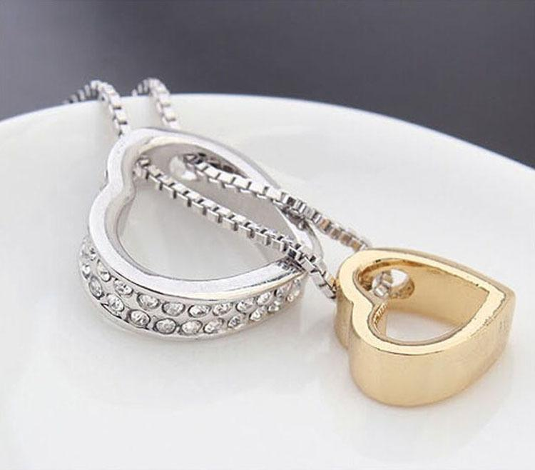 Collier Pendentifs De Mode Femmes Coeur Cristal Charme Pendentif Chaîne Collier Argent Plaqué Bijoux Chaînes Colliers