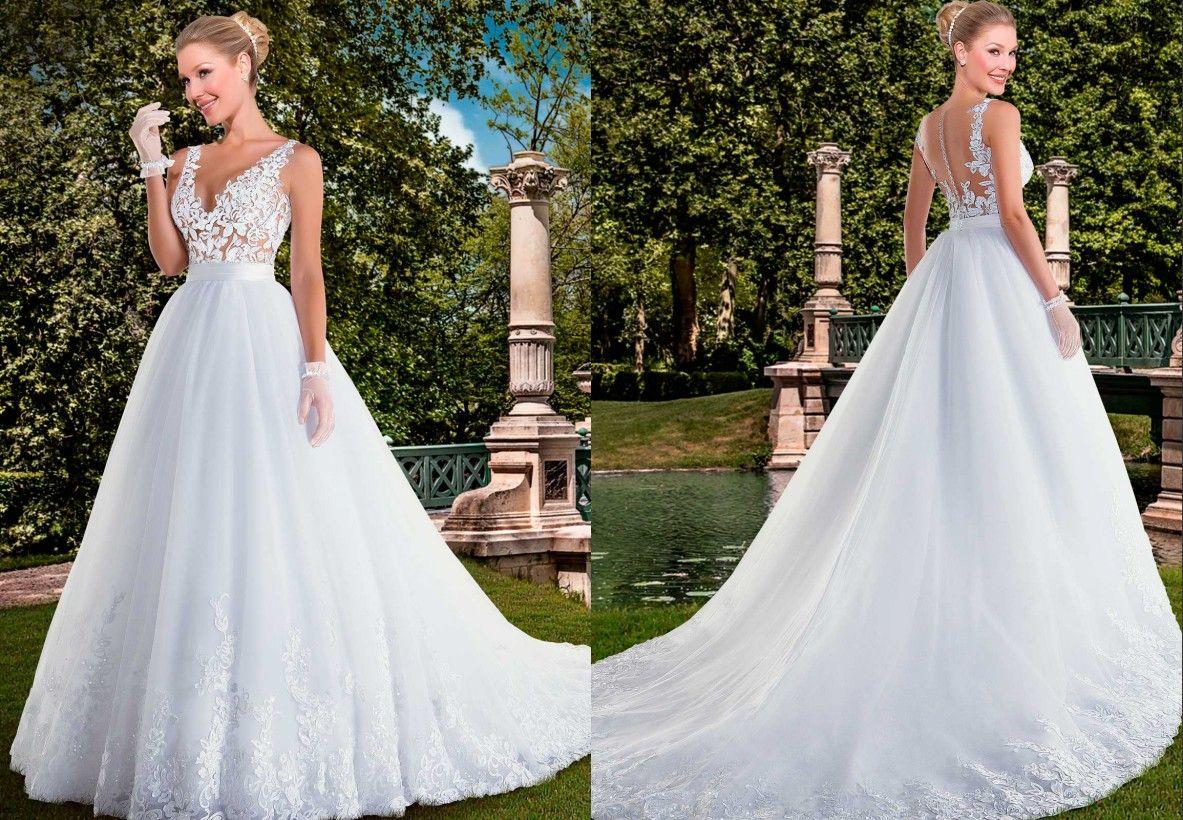 Vintage 2016 Via Sposa Lace Beaded Wedding Dresses V Neck