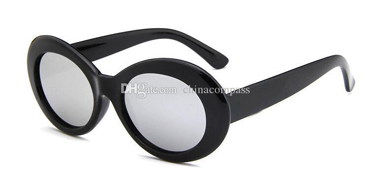 Clout Goggles NIRVANA Kurt Cobain Glasses Classic Vintage Retro White Black Oval Sunglasses Alien Shades Sun Glasses Punk Rock Glasses