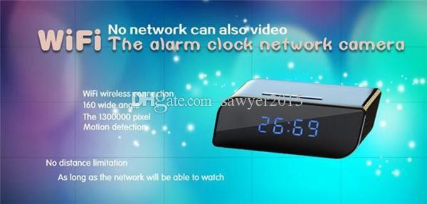 Mini P2P Wifi Pinhole camera Alarm Clock IP Camera HD 720P Clock DVR Digital Video Recorder Wireless wifi P2P Remote Control camera