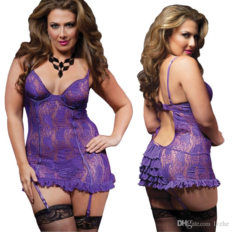 2018 Nuove donne sexy Ladies Lace Lingerie G-String Babydoll Intimo Sleepwear i Plus Size S-6XL