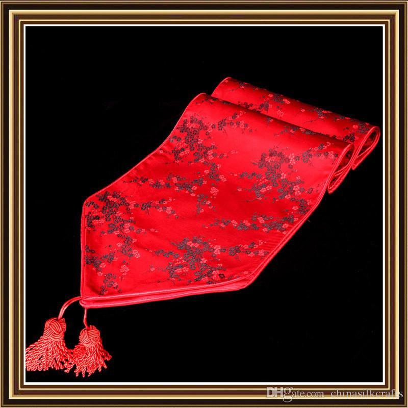 Modern Elegant Chinese Silk Satin Table Runner Cherry blossoms Decorative Damask Table Cloth Runners Rectangular Table Mat 200x33 cm