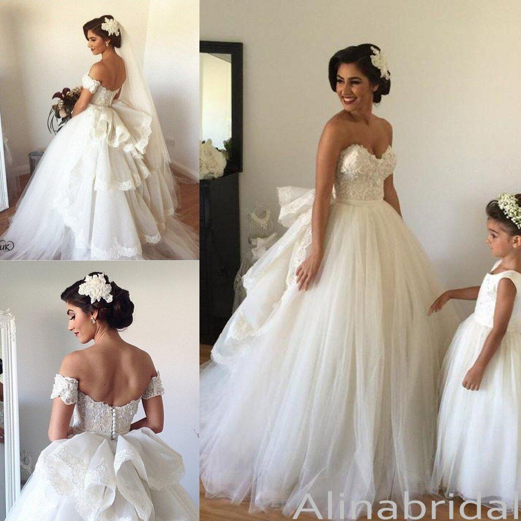 Spring Sweetheart Lace Puffy Cinderella Wedding Gowns Bridal Dress Princess Ball Gown Dresses Plus Size Brides