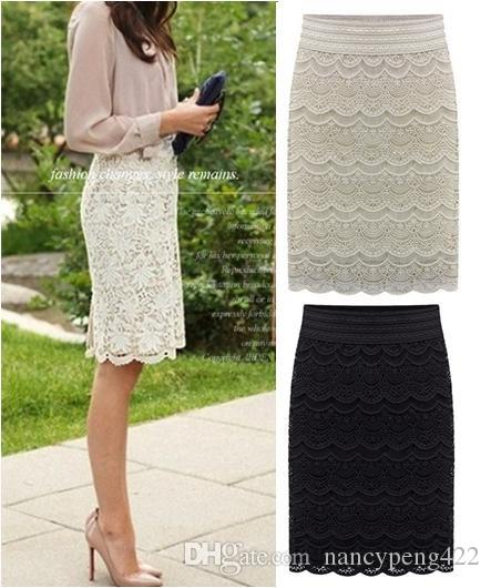 cf70a142e56 2019 Spring Summer Lace Pencil Skirts For Women 2018 New Fashion High Waist  Office Ladies Slim Beige Black High Waist Jupe Skirt Saias Faldas From ...