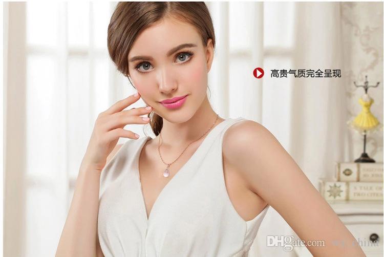 Chinesisches natürliches Rosenquarz-Rosa-österreichisches Kristallherz 925 Sterlingsilber-Überzug auf kupferner Rosen-Gold- / Silber-Farben-hängender Halskette