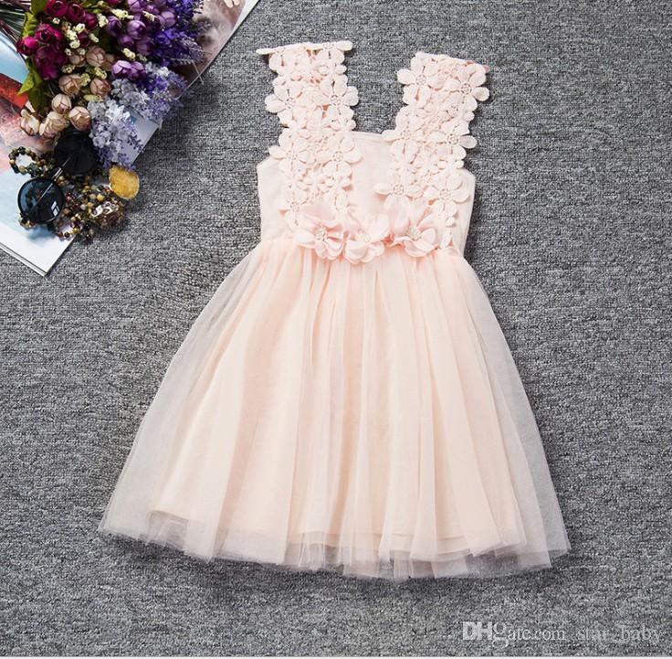 6 Farbe 2016 Sommer-3D Blumen Crochet Kleid-Mädchen-Spitze-Sleeveless Sun Kleid-Kind-Tutu-Kleid-Partei-Kleid-freies Verschiffen K7056