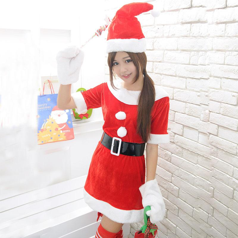 Santa Claus Costumes Suit Cosplay Women Short Sleeve Red Clothes Female  Stage Performance Clothing Free Size 4 Person Halloween Costume Halloween  Group ... 95633db17e49