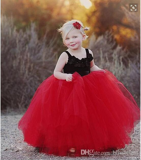 Adorable Red And Black Ball Gown Flower Girl Dresses Tulle Puffy Skirts  Tutu Spaghetti Straps WIth Hand Made Floral Kids Pageant Gowns Princess  Dresses For ... 0badff70d