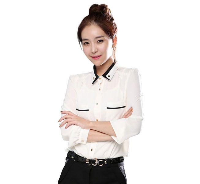 a9ed9a38d3 Chiffon Blouses For Women Long Sleeve School Girl Peter Pan Collar ...