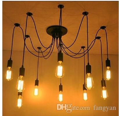 Klassische Kronleuchter 6 Lichter Kronleuchter Lampe E27 Spinne Edison DIY Group Hängelampen Beleuchtung Beleuchtung Zubehör Linie Freies Verschiffen