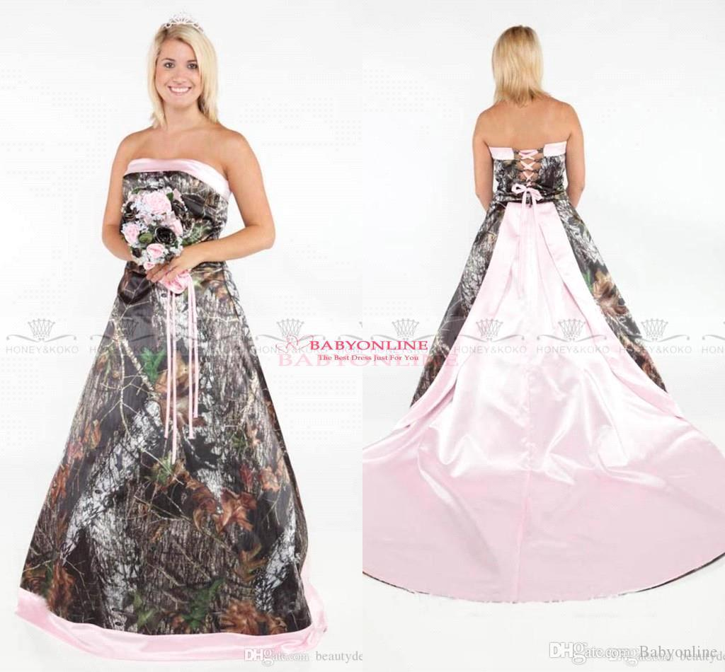 Vintage Strapless 2017 Camo Wedding Dresses Forest Satin Pink Edged ...