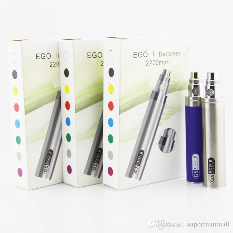 EGo II Pil 2200 mah büyük kapasiteli eGo II 2200 mAh KGO BIR HAFTA yeni Ego pil 510 konu CE4 Mt3 elektronik sigara için buharlaştırıcı kalem