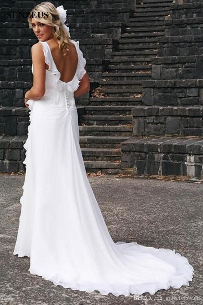 Vinatge Long Chiffon Wedding Dresses With Ruffles V-neck Low Back Sweep Train Beach Bridal Gowns 2019