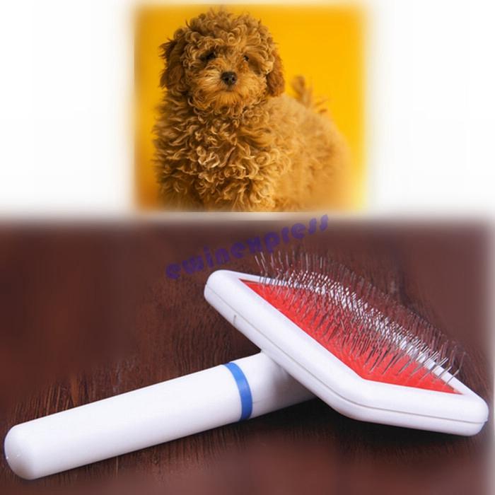 Small Self Clean Pet Dog Cat Grooming Slicker Hand Brush Comb Long Short Hair