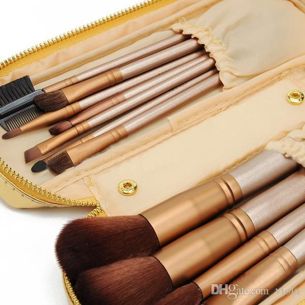 2015 HOT NEW Nude Makeup Brushes Nude Professional Brush sets Gold package